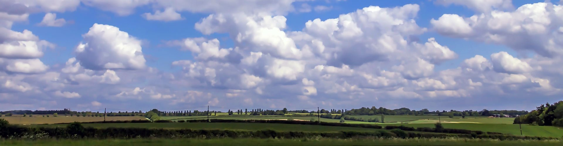 English summer cloudy day landscape along the highway A44